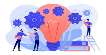Businessmen handshake and big bulb with rotating gears. Business idea, business launcher and development, business plan concept on white background. Pink coral blue vector isolated illustration