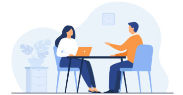 Job interview conversation. HR manager and employee candidate meeting and talking. Man and woman sitting at table and discussing career. Business or human resource concept