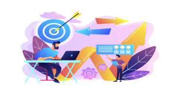 Businessman with laptop, target and arrows. Business direction and strategy, turnaround and change direction campaign concept on white background. Bright vibrant violet vector isolated illustration