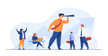 Team leader and teamwork concept. Businessman with telescope looking faraway an leading team. Flat vector illustration for planning, challenge, leadership topics