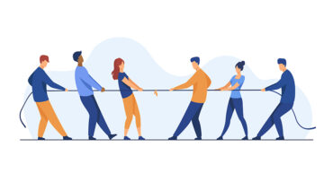 People pulling opposite ends of rope flat vector illustration. Tug of war contest between office workers. Competition challenge and confrontation concept