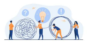 Team of crisis managers solving businessman problems. Employees with lightbulb unraveling tangle. Vector illustration for teamwork, solution, management concept