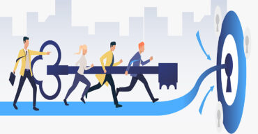 Business people running and carrying key to unlock keyhole. Target, goal, team concept. Vector illustration can be used for topics like business, management, teamwork