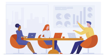 Business team discussing project. Colleagues with laptops sitting at table, talking flat vector illustration. Communication, brainstorming concept for banner, website design or landing web page